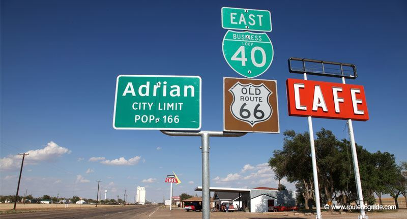 Route 66 in Adrian, Texas