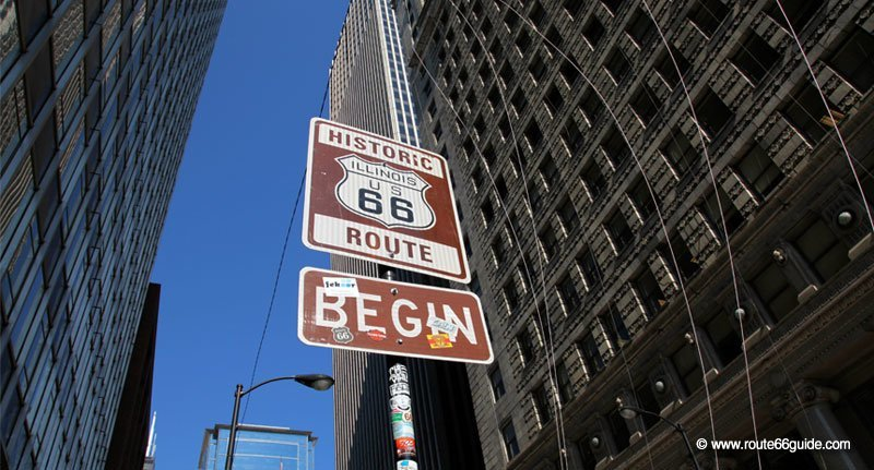 Route 66 Begin sign in Chicago