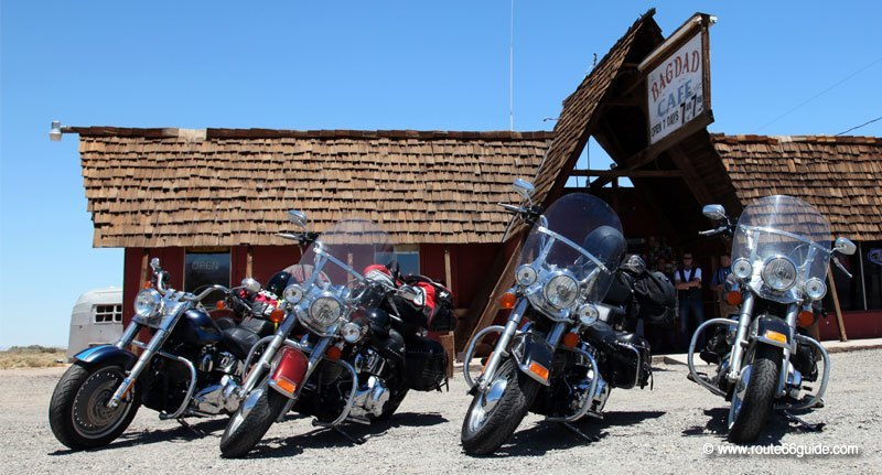 Harley Davidson motorcycles in front of Bagdad Cafe