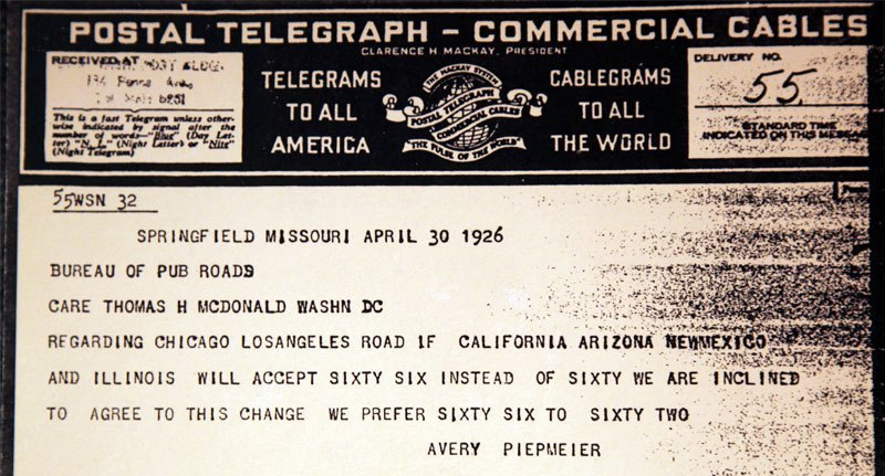 Telegram endorsing number 66 for the future transcontinental route